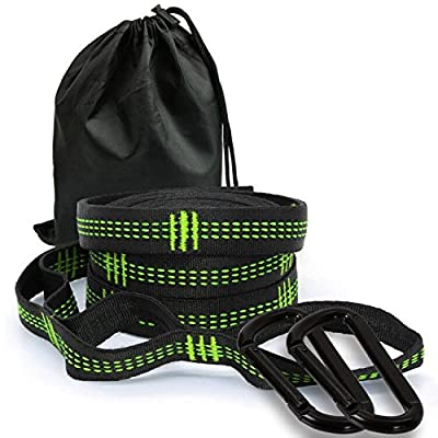 Kmike Hammock Straps, Hammock Tree Hanging Straps with 20 Ft Long +2000 LB Breaking Strength (Included 2 Stainless Steel Carabiners)