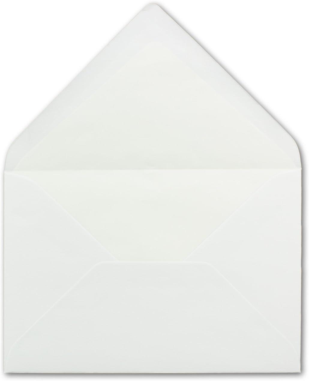 Nassklebung ohne Fenster 25 x Briefumschl/äge in Weiss mit wei/ßem Seidenfutter DIN B6 12,5 x 17,6 cm Ideal f/ür Hochzeits-Einladungen Gru/ßkarten Weihnachtskarten