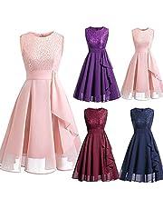 STKOOBQ Womens Bridesmaid Dress Formal Sleeveless Wedding Lace Long Dress Ladies Comfortable Chiffon Hem Party Dress