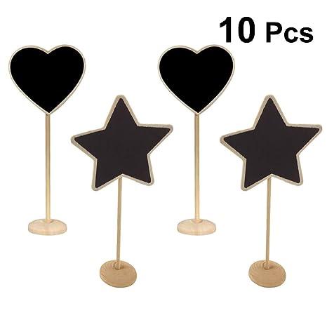 Amosfun 10pcs Mini Signos de Pizarra con Soportes de Madera ...