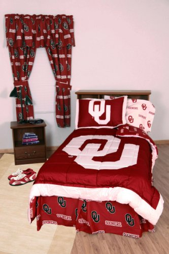 Oklahoma Sooners (3) Piece KING Size Reversible Comforter Set and Matching Window Curtain Valance - Entire Set Includes: (1) KING Size Reversible Comforter, (2) Pillow Shams and (1) Matching Window Curtain Valance - Save Big By Bundling!