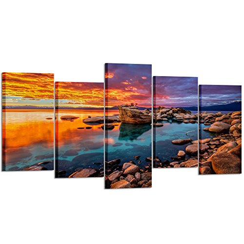 - Kreative Arts - Large 5 Piece Canvas Prints Candy Skies Lake Tahoe Wall Art Rocky Shore in Nevada California Giclee Stretched and Framed Landscape Picture for House Decorations (Large Size 60x32inch)