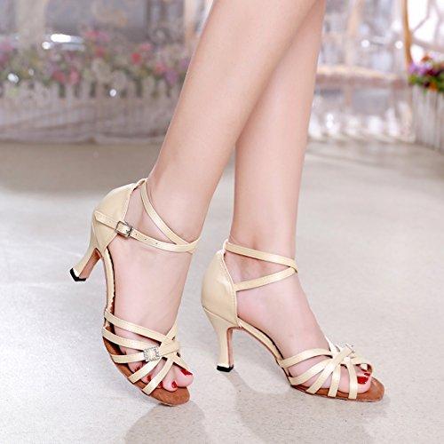 5cm Women's Party Modern Sandals 7 Satin Tango Shoes MGM Style Wedding Latin Salsa Peep Samba Heel Ballroom Dance Buckle Rumba Weave Joymod Toe Beige Sq6B5xUwp