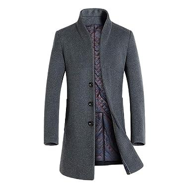 147cc61ab578 YuanDiann Homme Épaissir Long Trench Coat Manteau en Laine Automne Hiver  Chaud Rembourré Slim Fit Caban