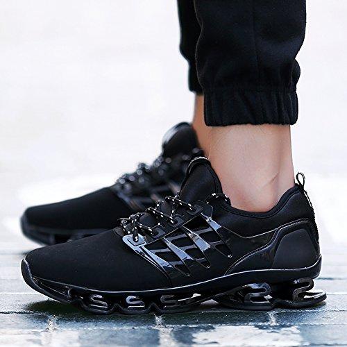 Zapatos para corer hombres Zapatillas de paseo transpirable cuero Athletic Outdoor Trail Deportes ocasionales Ejercicio Calzado Negro