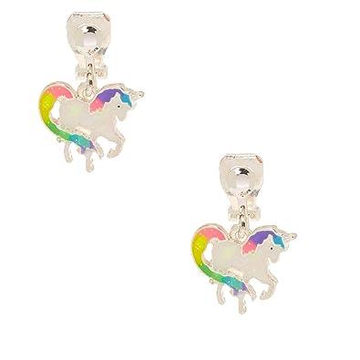 04f73f88d Claire's Girl's Iridescent Rainbow Unicorn Clip on Earrings: Claire's:  Amazon.co.uk: Jewellery