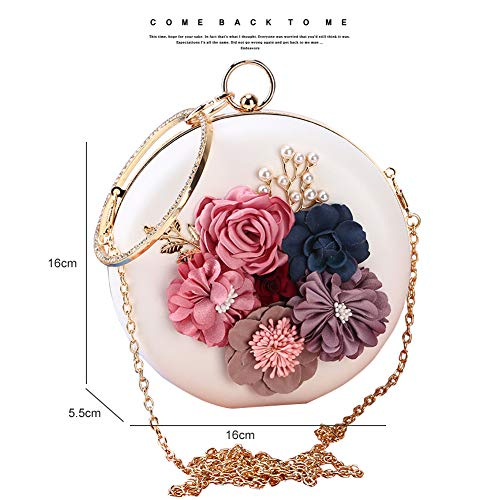 Clutch amp; Women Chain Evening Yoome Party Black Crossbody Purse Flowers Bag Beaded Wedding Pearl Vivid Leather 5qxgwpUw