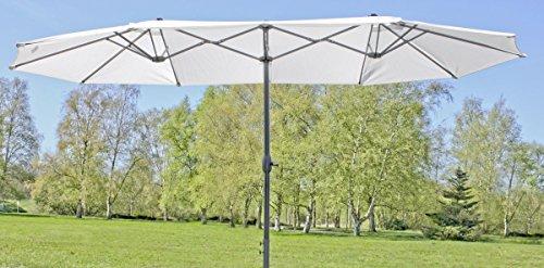 Riesensonnenschirm, 4,65 m breit großer Doppel-Sonnenschirm in Creme