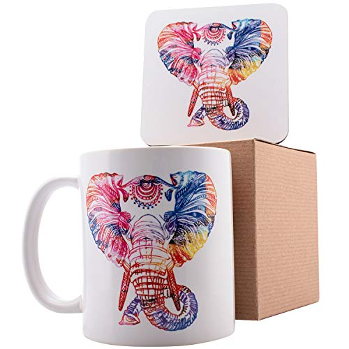 Personalized Coffee Mug Gifts Colorful Elephant - 11oz Ceramic Mug with Matching Coaster & Gift Box - Birthday Gifts, Mother's Day Gifts, Father's Day Gifts, Christmas Gifts