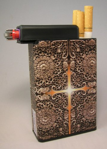 Designer Cigarette Case - Cigarette Case Cross of Light with Built on Lighter Holder