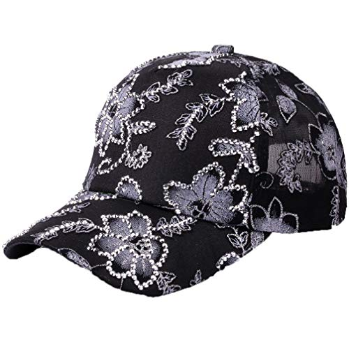 Womens Glittered Rhinestone Baseball Caps Fashion Adjustable Lace Flower Snapback Hats Bling Sparkle Hip Hop Trucker Hat Black