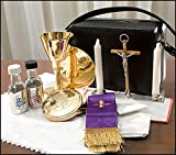 Mass Kit, Chalice, Paten, Pyx, Crucifix, 2 Glass Bottles, 2 Candles, Stole, and Linens in zippered carrying case