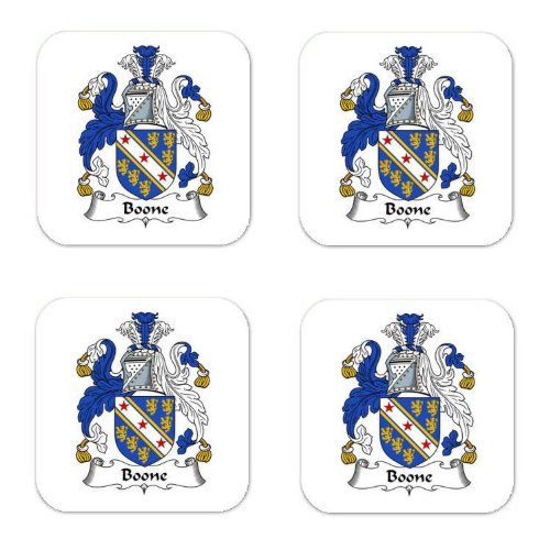 (Bohun Or Boone Family Crest Square Coasters Coat of Arms Coasters - Set of 4)