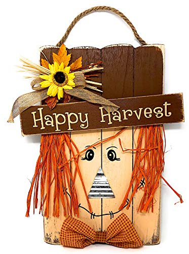 Scarecrow Front Door Wall Wreath Display Room Decor Autumn Fall Thanksgiving Wood Decoration Colorful Friendly Large 15