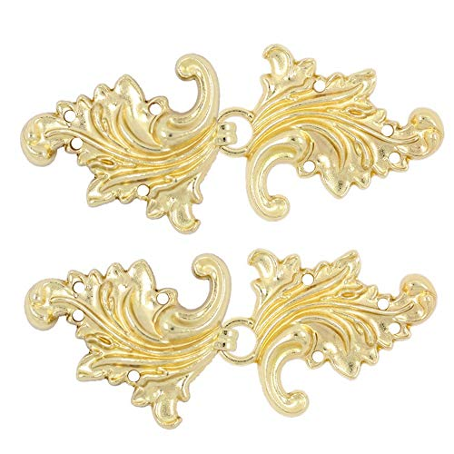 (Bezelry 4 Pairs Asymmetric Acanthus Leaf Cape or Cloak Clasp Fasteners. 66mm x 28mm Fastened. Sew On Hooks and Eyes Cardigan Clip (Gold))