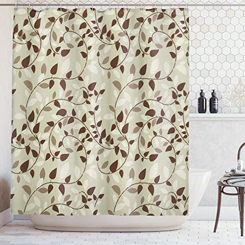 Ambesonne Leaves Decor Collection, Pattern with Vines Leaves Nature Curvy Branches Plants Garden Floral Illustrated Art, Polyester Fabric Bathroom Shower Curtain Set with Hooks, Brown Beige