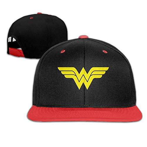 sunny-fish6hh-unisex-adjustable-wonder-woman-hiphop-baseball-caps-hat-for-kids-teenager-red
