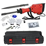 F2C 2200W Heavy Duty Electric Demolition Jack Hammer Concrete Breaker 2 Chisel 2 Punch Bit Set W/Case, Gloves