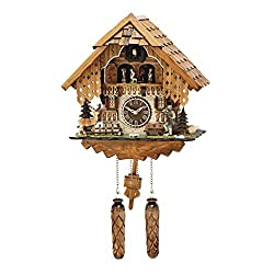 Hermle RHEINBERG Chalet Style Quartz Cuckoo Clock with Moving Children, Deer and a Hiker #64000 by Trenkle Uhren