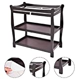 New MTN-G Espresso Sleigh Style Baby Changing Table Infant Newborn Nursery Diaper Station