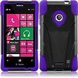 For Nokia Lumia 521 T-Stand Impact Kickstand Hybrid Double Layer Fusion Cover Case Black/Dark Purple