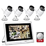 YESKAMO Wireless Security Camera System 1080P 12' LCD HD Monitor 4 Channel 2.0 Megapixel CCTV Kit Built in 2TB Surveillance Hard Drive for Home Outdoor and Indoor Video Monitoring