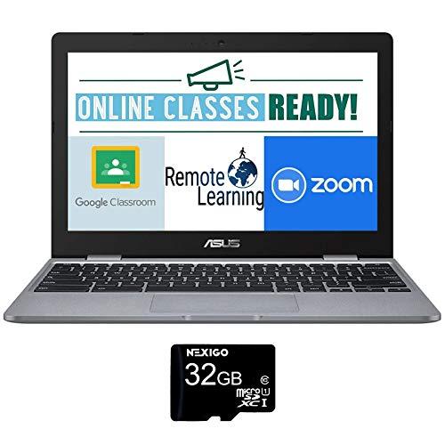 2021 Premium Asus Chromebook 11.6 Inch Laptop with Webcam| Intel Celeron N3350 up to 2.4 GHz| 4GB RAM| 16GB eMMC| Bluetooth| WiFi| Chrome OS + NexiGo 32GB MicroSD Card Bundle