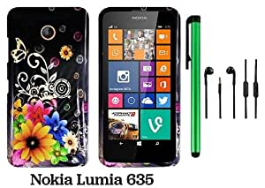 Nokia Lumia 635 (US Carrier: T-Mobile, MetroPCS, and AT&T) Premium Pretty Design Protector Cover Case + 3.5MM Stereo Earphones + 1 of New Assorted Color Metal Stylus Touch Screen Pen (Yellow Pink Chromatic Flower Black Silver Butterfly)