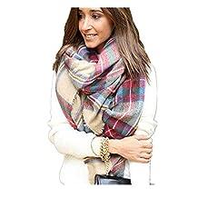 Sannysis Scarf Wrap Shawl Plaid Lady Blanket Oversized Tartan