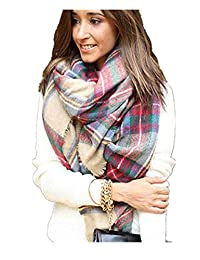 Sannysis Scarf Wrap Shawl Plaid Lady Blanket Oversized Tartan