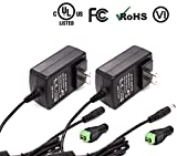 iCreatin 12V 3A Wall AC DC Power Supply Adapter Lighting Transformer for CCTV Cameras, DVR, NVR, LED Tape Strip Light, UL Listed FCC (2-Pack)