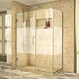 DreamLine Unidoor Plus 49 1/2 in. W x 30 3/8 in. D x 72 in. H Frameless Hinged Shower Enclosure, Frosted Band, Brushed Nickel, SHEN-24495300-HFR-04