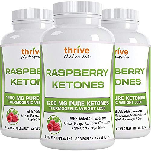 Thrive Naturals Raspberry Ketones - Thermogenic Weight Loss Support - Extra Strength 1200 mg Daily Dose - 60 Capsules (3 Pack)