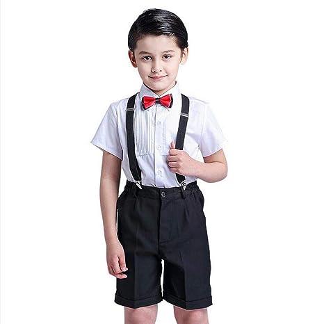 NIERJIU Niño Pequeño Traje Traje Pajarita Camisa Tirantes ...