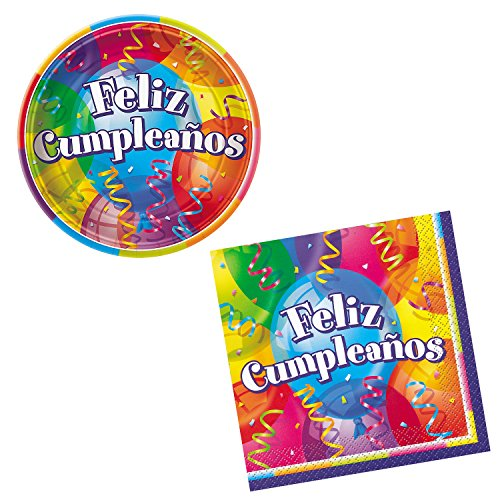 Unique Feliz Cumpleanos Party Bundle   Beverage Napkins, Dinner Plates, Hats   Great for Festive/Balloon Birthday Themed Parties for $<!--$14.95-->