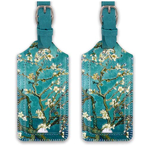 kandouren Luggage Tags 2 Pieces Set,Van Gogh Green Flower PU Leather travel bag tags for cruise ships,for men and women - Flower Luggage Tag