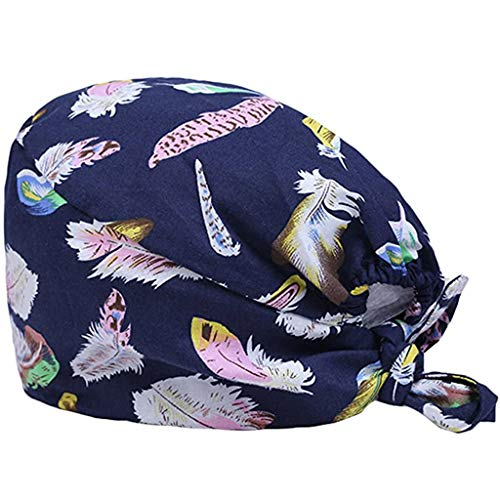 KYLEON Surgical Caps Scrub Hat with Button Medical Bouffant Cap Sweatband Head Covers Headwear for Doctor Nurse Men Women