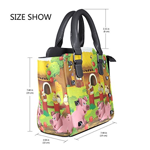 Top Bags Handle The At Handbags Farm Women's Shoulder PU Pigs Leather Playground TIZORAX zv1Ew7qW
