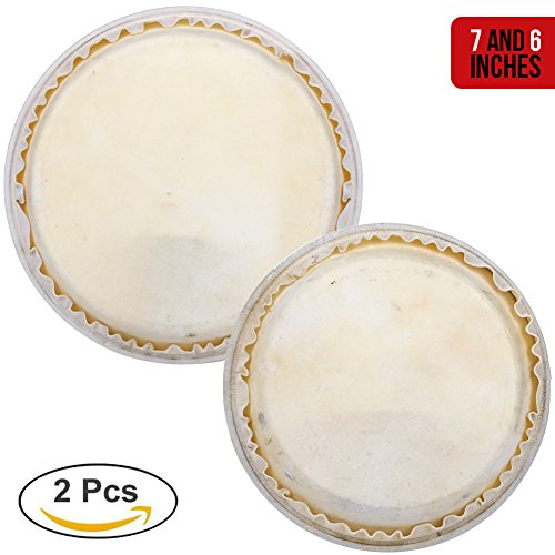 "- Bongo Drums Set Heads Replacement for Kids Adults Beginners Professionals - 2 pcs 6"" and 7"" for Hand Percussion Instruments with Natural Ethically Sourced Rabbit Skin Hides"