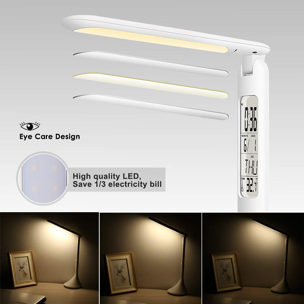 Desk Lamp, Study Light USB Lamp with Charging Port, Built-in Clock, Calendar, Thermometer, 4000k Eye-Care Table lamp for Study Dorm Desk Room, 3-Level Dimmer, Portable, Touch Control by GREEMPIRE (Image #8)