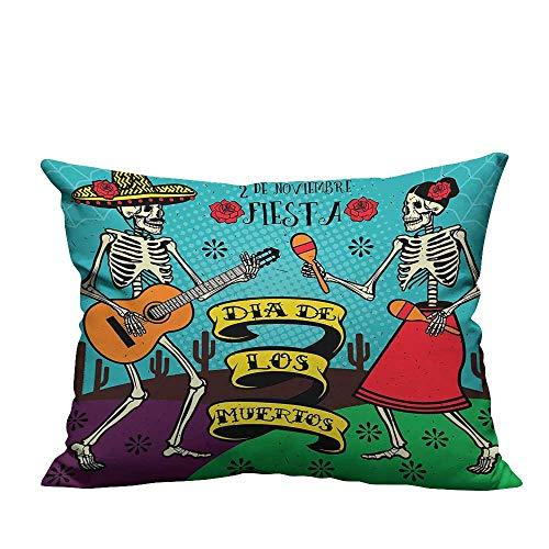 Throw Pillow Cover for Sofa Dead Dia de Los Muertos Spanish Couple Danc Image Multicolor Textile Crafts (Double-Sided Printing) 19.5x60 -