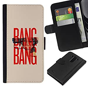 All Phone Most Case / Oferta Especial Cáscara Funda de cuero Monedero Cubierta de proteccion Caso / Wallet Case for LG G3 // Gun Text Red Beige Minimalist War