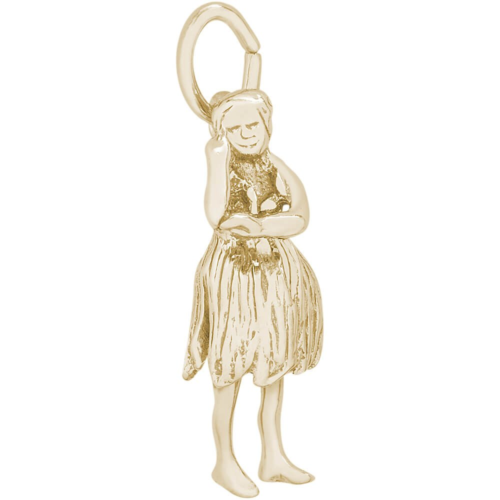 Rembrandt Charms 10K Yellow Gold Hula Dancer Charm (0.83 x 0.36 inches)