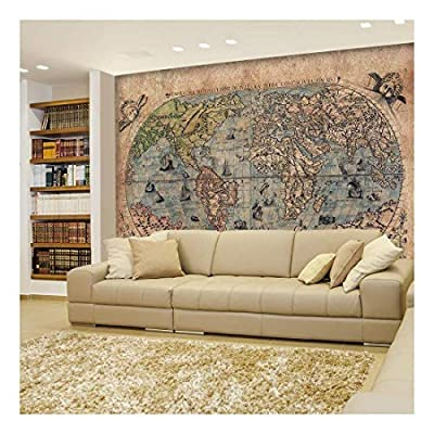 Antique Map of The World - Complete with Sea Monster Illustrations - Wall Mural, Removable Sticker, Home Decor - 100x144 inches