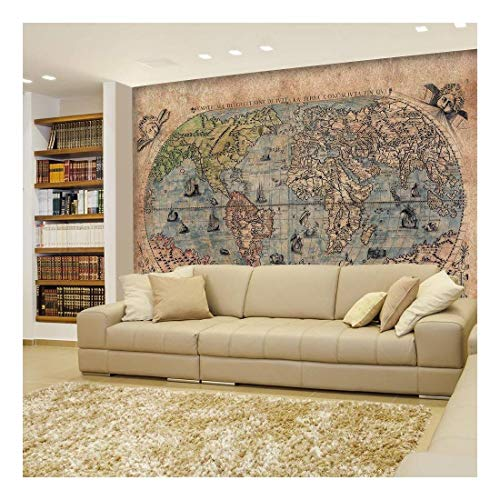 Antique Map of the World Complete with Sea Monster Illustrations Wall Mural