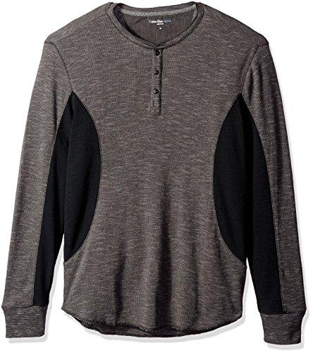 Calvin Klein Jeans Men's Mixed Media Slub Waffle Henley Long Sleeve Shirt, Smoked Pearl, 2X-Large