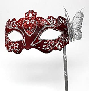 LADIES HAND HELD RED /& GOLD VENETIAN MASQUERADE BALL PARTY EYE MASK ON A STICK