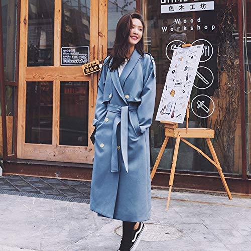 Otoño Cazadora Mujeres Slim Fit Chaqueta Blue Qscg Collar Vintage De Larga Temperamento Doble Abrigo Botonadura Las Del fxdz41qZn