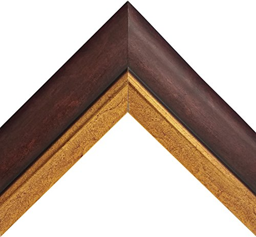 - Traditional Italian Wood Picture Frame with Dark Walnut Finish Gold Trim (24x36 Inch)