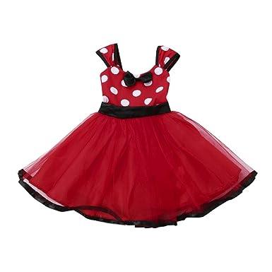 57579420377d1 Amlaiworld ❤️Robe de Filles Enfants Filles Tutu Princesse Dot Robe de Noël  Tenues Vêtements Fille Robe de Soie pour 6Mois-4Ans Fille  Amazon.fr   Vêtements ...